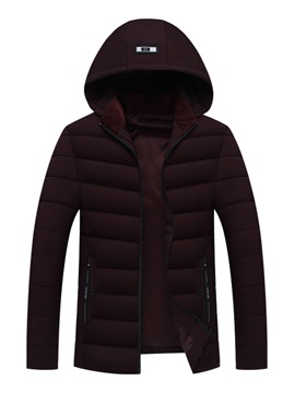 Ericdress Plain Hooded Zipper Slim Mens Casual Down Jacket