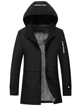 Ericdress Plain Hooded Printed Mid-Length Mens Casual Trench Coat
