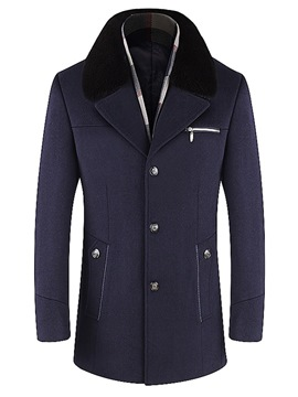 Ericdress Plain Mid-Length Mens Casual Winter Wool Coat