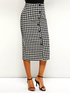 Ericdress Houndstooth Button High-Waist Casual Pencil Skirt
