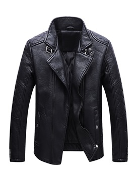 Ericdress Plain Zipper Straight Mens Casual Leather Jacket