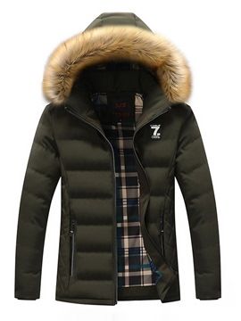 Ericdress Plain Thick Zipper Mens Casual Quilted Down Jacket