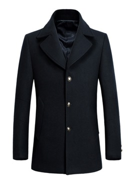 Ericdress Plain Notched Lapel Mid-Length Mens Casual Wool Coats