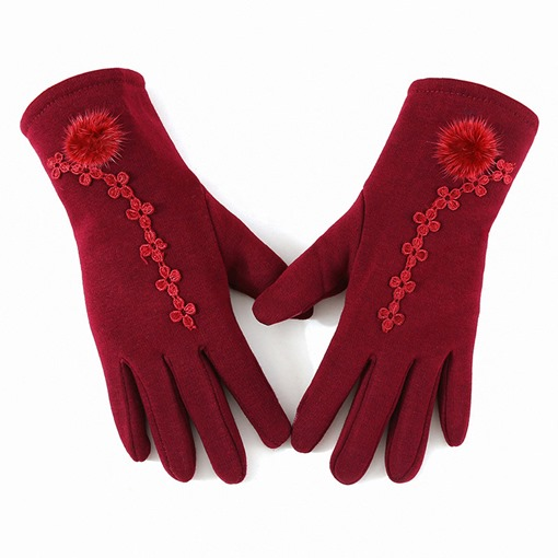 Ericdress Embroidery Flower Winter Gloves