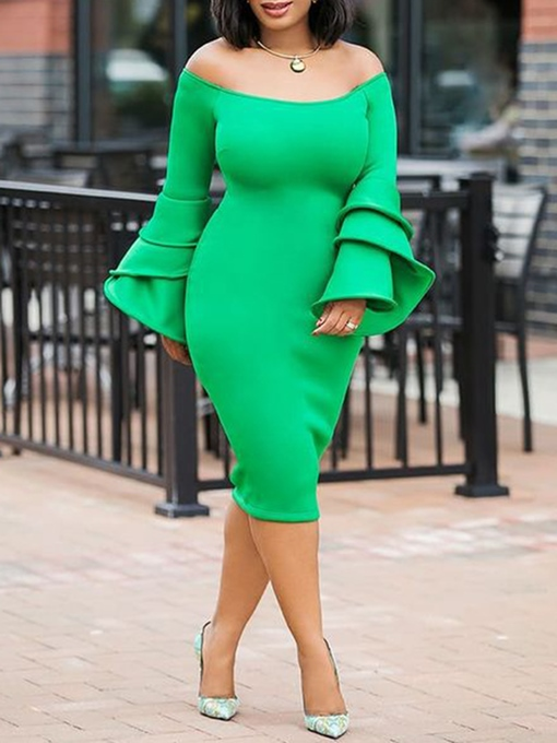 Ericdress Falbala Long Sleeves Mid-Calf Long Sleeve Bodycon Dress