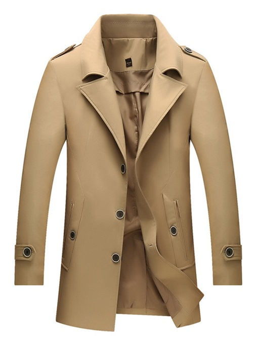 Ericdress Plain Button Single-Breasted Mens Fashion Trench Coat