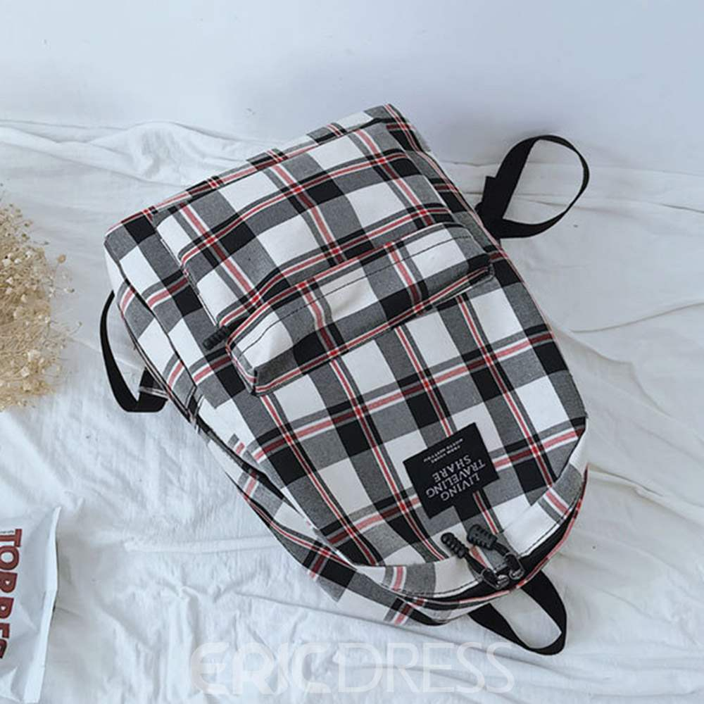 Ericdress Thread Plaid Canvas Backpacks