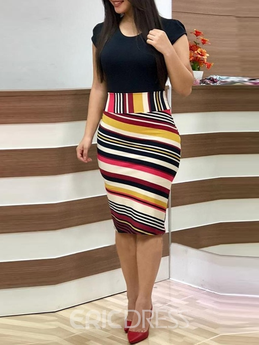 Ericdress Patchwork Knee-Length Round Neck Stripe Bodycon Dress