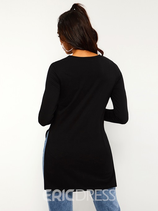 Ericdress Round Neck Mid-Length Plain Spring Simple T-Shirt