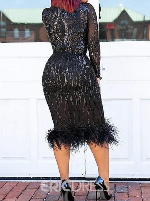 Ericdress Patchwork Bodycon Sequins Plume Elegant Dress