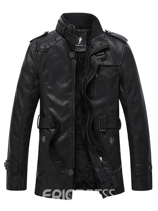 Ericdress Plain Zipper Cashmere Lining Mens Leather Jacket With Belt