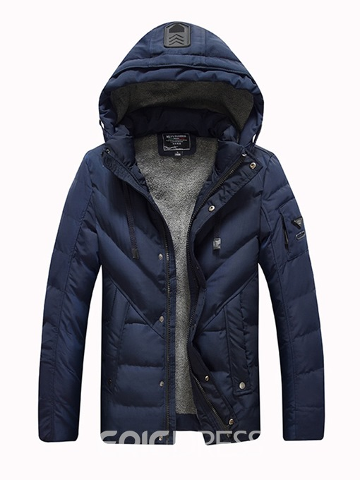Ericdress Plain Removable Hooded Thick Mens Casual Down Coats