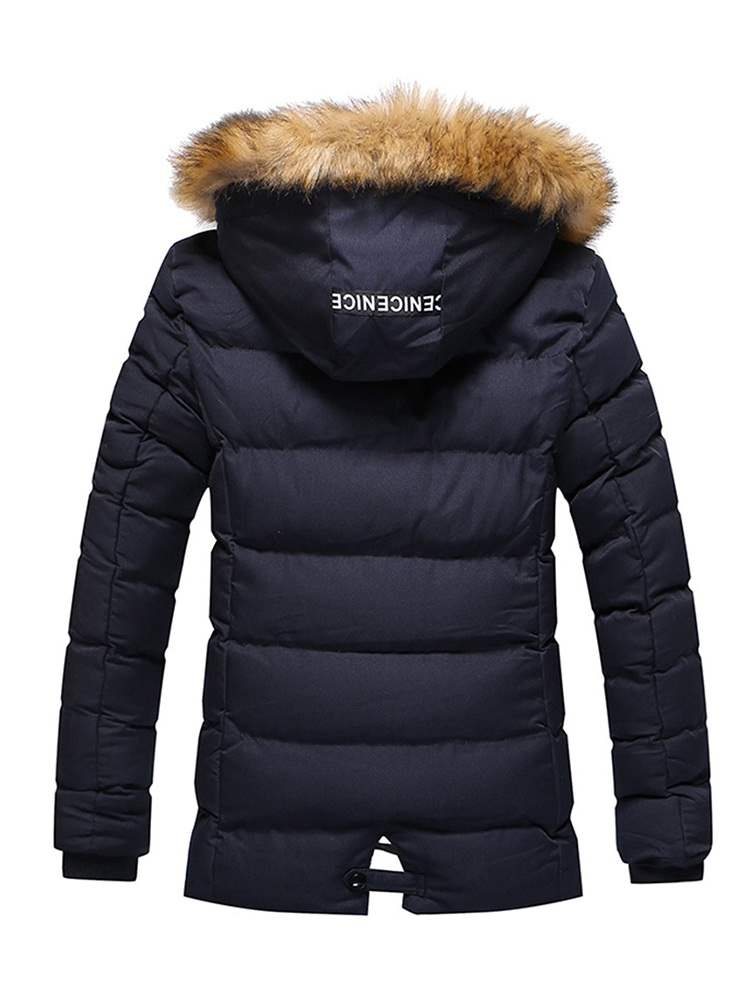 Ericdress Plain Fur Hooded Zipper Mens Casual Quilted Down Jacket