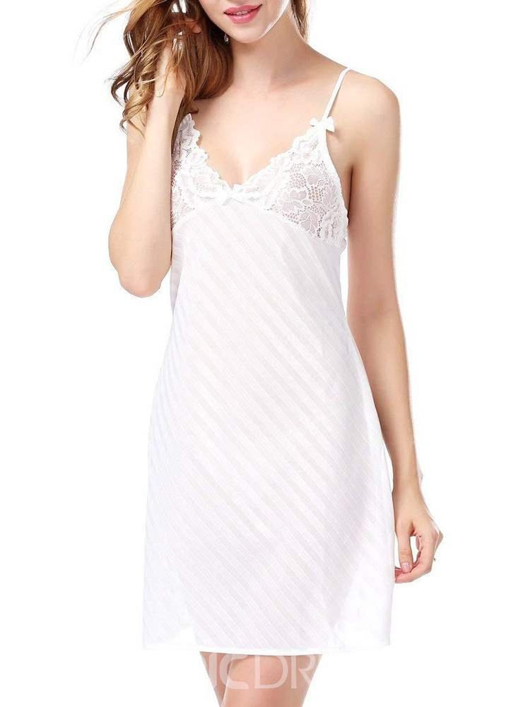 Ericdress Plain Backless Lace Sleeveless Nightgown