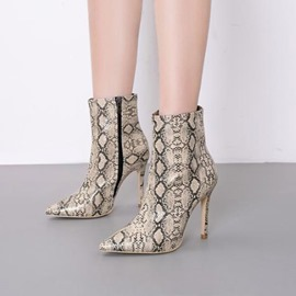 Ericdress Serpentine Stiletto Heel Pointed Toe Women's Ankle Boots