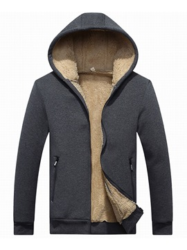 Ericdress Plain Hooded Cashmere Lining Mens Casual Zipper Hoodies