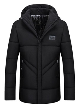 Ericdress Plain Zipper Slim Hooded Mens Casual Down Jacket