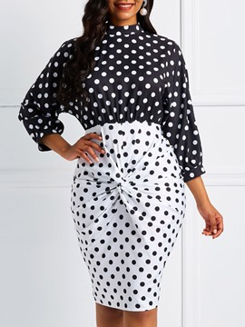 Ericdress Polka Dots Color Block Vintage Pleated Bodycon Dress