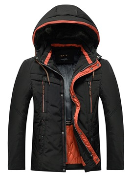 Ericdress Patchwrok Plain Hooded Mens Zipper Down Jacket