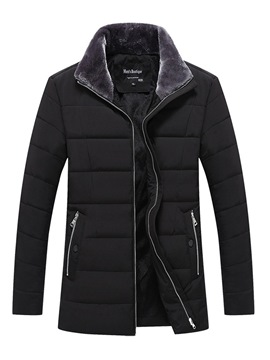 Ericdress Plain Thick Pocket Mens Casual Zipper Down Jacket