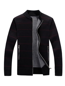 Ericdress Striped Stand Collar Zipper Mens Casual Cardigan Sweater