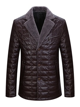 Ericdress Plain Lapel Thick Single-Breasted Mens Casual PU Winter Jacket