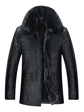 Ericdress Plain Removable Fur Collar Mens Casual Leather Jacket
