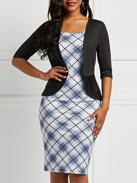 Ericdress Half Sleeve Office Lady Plaid False Two-Piece Dress