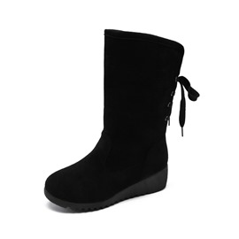 Ericdress Round Toe Wedge Heel Women's Calf High Boots
