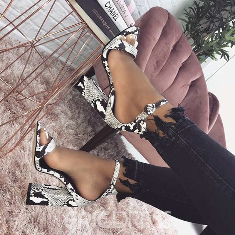 Ericdress Serpentine Chunky Heel Line-Style Buckle Women's Sandals