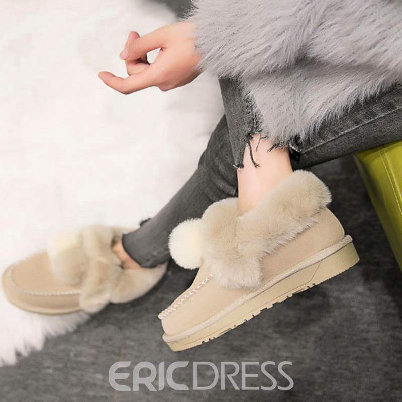 Ericdress Slip-On Round Toe Women's Winter Flats