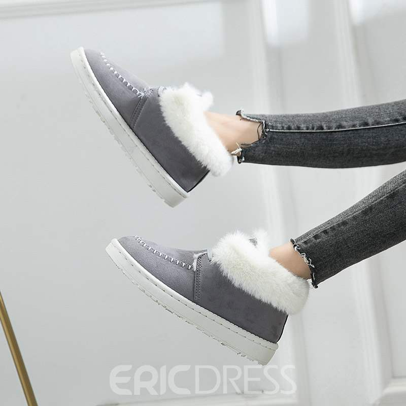 Ericdress Round Toe Plain Lace-Up Women's Winter Flats