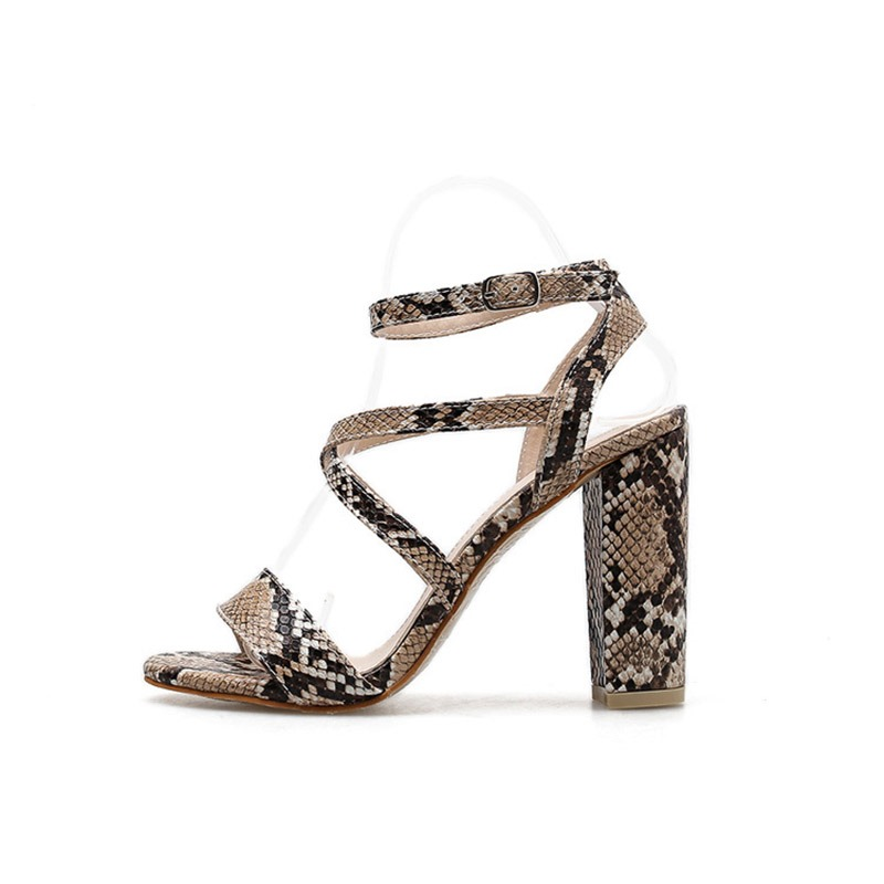 Ericdress Serpentine Strappy Chunky Heel Women's Sandals