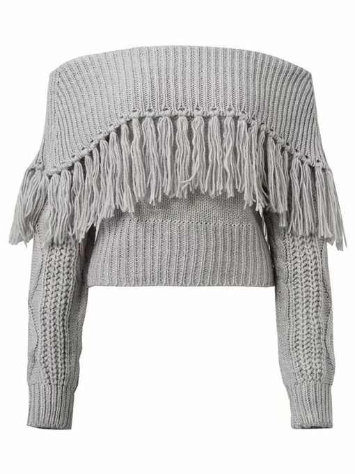 Ericdress Tassel Regular Thin Slash Neck Fall Sweater