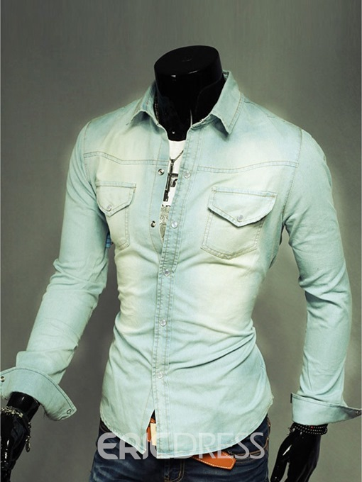 Ericdress Denim Casual Men's Shirt