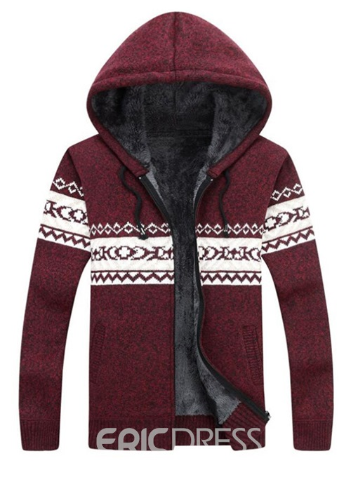 Ericdress Patchwork Color Block Hooded Mens Zipper Casual Sweater