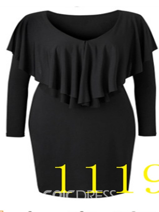 Ericdress Plus Size Above Knee Long Sleeve Round Neck Pullover Regular Dress