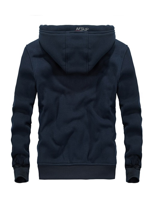 Ericdress Plain Cashmere Lining Hooded Zipper Mens Sports Hoodies