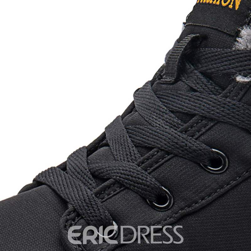 Ericdress Plain Lace-Up Front Round Toe Men's Winter Boots