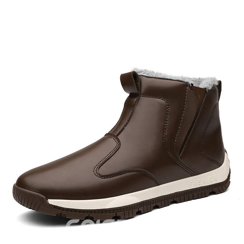Ericdress PU Elastic Round Toe Men's Winter Boots