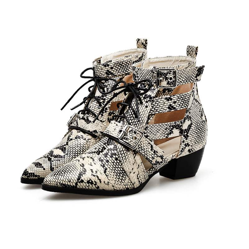 Ericdress Serpentine Hollow Chunky Heel Women's Ankle Boots