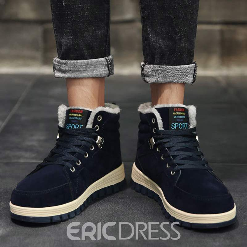 Ericdress Plain Lace-Up Front Men's Winter Boots