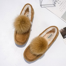 Ericdress Round Toe Pompon Women's Winter Flats