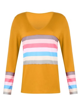 Ericdress Stripe Regular V-Neck Straight Long Sleeve T-Shirt