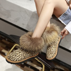 Ericdress Slip-On Platform Faux Fur Leopard Print Women's Snow Boots