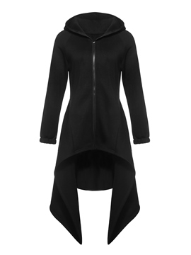 Ericdress Slim Zipper Asymmetric Mid-Length Overcoat