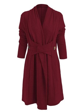 Ericdress V-Neck Mid-Length Plain Long Sleeve Regular Trench Coat
