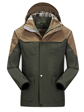 Ericdress Patchwork Hooded Pocket Waterproof Mens Sports Trench Coat