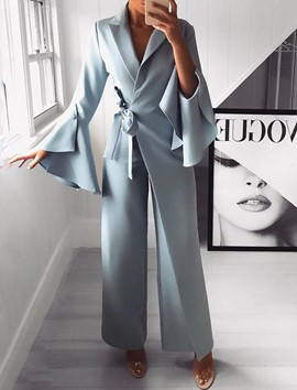 Ericdress Flare Sleeve Notched Lapel Lace-Up Wide Legs Women's Jumpsuits