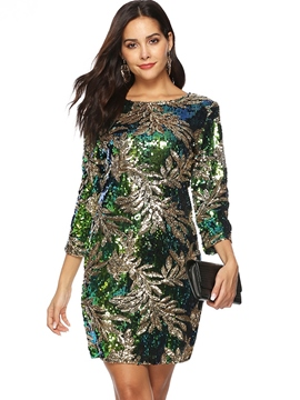 Ericdress Sequins Above Knee Three-Quarter Sleeve Bodycon Dress